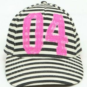 Betsey Johnson Neon Pink Stripe '04' Baseball Cap